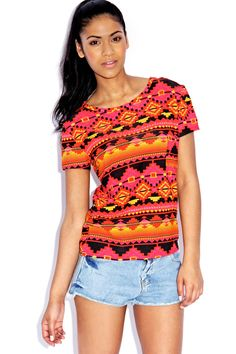 Love this bright Aztec Print top... perfect for summer...