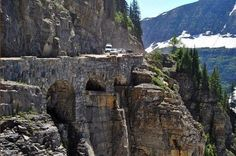 One of the world's greatest feats of engineering - the Going to the Sun road in Glacier Park, Montana Glacier National Park Montana, Glacier Park, Glacier Montana, Places To Travel, Places To See, Travel Sights, Big Sky Country, National Parks, Adventure