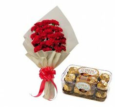 Carnations Flowers and chocolates
