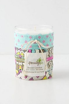 Coconut candle from Anthropolgie Candle Jars, Candle Holders, Candles, Surface Pattern Design, Design Patterns, Gadget Gifts, Writing Paper, Home Made Soap, Packaging