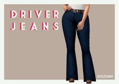 "solosims: "" DRIVER JEANS ""the texture from the parenthood jeans, with the belt from the bowling stuff shorts, on the mesh of the movie hangout flares 10 swatches › BGC › custom thumbnail › proper..."