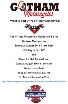 Hope to see you at our showroom this Saturday and at the Bikers for Bini event this Sunday at the Staten Island Mall! Take a second to share!     #Motorcycles #StatenIsland #Events #NYC #StatenIslandEvents #NYCEvents #rideordie