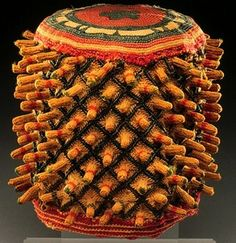 Africa | Chief's hat from the Babanki people of Cameroon | Cotton and wool: