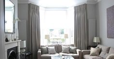 Soft Grey Color Curtains For Bay Windows In Living Room With Soft Grey Sofa On White Wall Color  On Inspiring Kitchen
