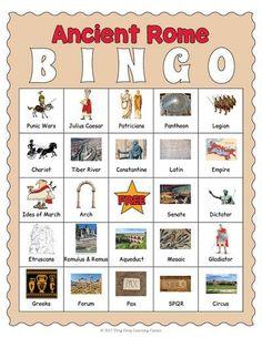 Ancient Rome Bingo - 32 vocabulary cards and 30 unique bingo boards.