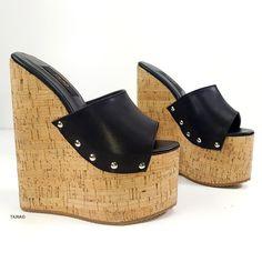 Black Pinned High Heel Cork Mules Platform Wedges Shoes, Wedge Shoes, Sexy High Heels, Cork, Heeled Mules, Comfy Heels, Big Sizes, Turkey, Black