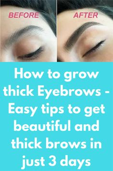 How to grow thick Eyebrows - Easy tips to get beautiful and thick brows in just 3 days Thick eyebrows have always been in demand. Thick, well-shaped eyebrows can enhance your look, while thin and sparse eyebrows can make you look older and dull. Many peop Sparse Eyebrows, Thin Eyebrows, Thick Brows, Natural Eyebrows, Eye Brows, Thicker Eyelashes, Perfect Eyebrows, Coconut Oil For Eyebrows, Grow Eyelashes