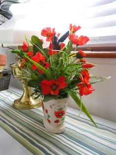 33 best poppies images on pinterest poppies poppy and beautiful artificial poppy flower arrangement arrangement shabby spring floral arrangement beautiful poppy flower mightylinksfo