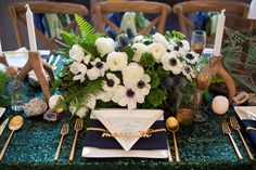 anemones + ferns + green sequin linen + navy and gold accents // The Cream Event Los Angeles