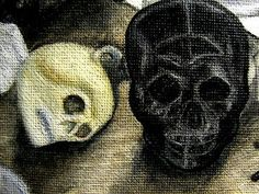 When you fell down, I was beside you. I protected you from the elements... I always have... just like you have protected me from myself. Always watching, always just out of my peripheral.  ~X~    ~~~~~ 'Detail of Altar Still Life' Two Skulls in Oil by Ruby Silver Smith aka Eyescream  ~~~~