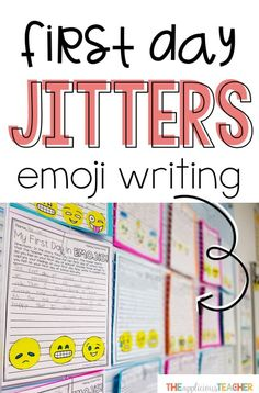 first day jitters emoji writing activity for back to school Great back to school writing activity for the first day! After reading the book, First Day Jitters, students write about how they felt on the first day of school using emojis! First Day Of School Activities, 1st Day Of School, Beginning Of The School Year, I School, Middle School, Back To School Ideas For Teachers, Back To School Art Activity, School Essay, School Info