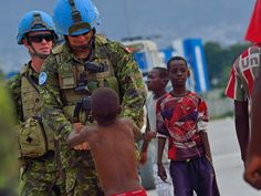 Canadian peacekeepers on UN mission Royal Canadian Navy, Canadian Army, Force Pictures, Warrant Officer, Port Au Prince, Marc Andre, Modern Warfare, Armed Forces, Troops