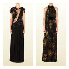 Particolarissimi questi due vestiti di Gucci: a sinistra, il corpetto in pizzo trasparente è arricchito da inserti di pizzo nero; a destra la stampa fiorata con punte di giallo alleggerisce il colore scuro. Foto: Gucci