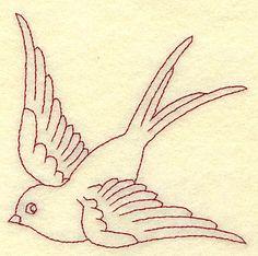 Bird redwork 3.64w X 3.49h