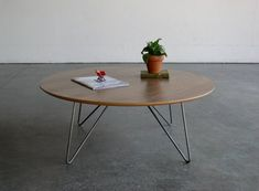 Items similar to Mid Century Modern Inspired Walnut Plywood Round Coffee Table w/ Wire Rod Legs on Etsy Hammered Coffee Table, Round Coffee Table, Walnut Plywood, Walnut Veneer, Mid Century Coffee Table, Minimalist Scandinavian, Living Room Inspiration, Home Furniture, Metal Furniture