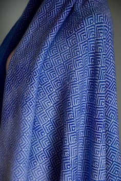 Blue, purple and teal tones soft cashmere and silk handwoven throw