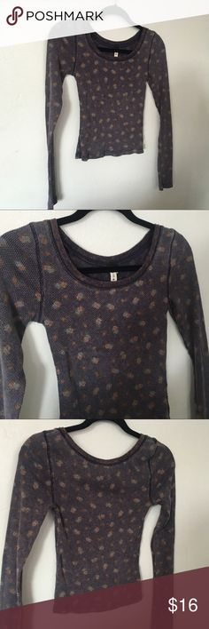 We The Free Floral Crop Thermal Top Tee Small EUC Size small 4.5/5 Free People Tops Tees - Long Sleeve