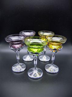 Vintage Morgantown Glass Cocktail Glasses United Chromium Art Deco Set of 5 Crystal Glassware, Glass Ceramic, Art Deco, Cocktails, The Unit, Crystals, Glasses, Purple, Cheers