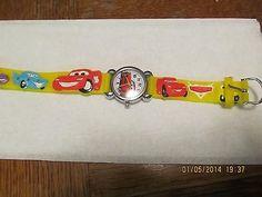 Car Yellow Children boy Cartoon PVC Band Quartz Wrist watch Toy Xmas 175