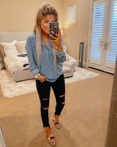 Outfits 2019 Outfits casual Outfits for moms Outfits for school Outfits for teen girls Outfits for work Outfits with hats Outfits women Casual Fall Outfits, Fall Winter Outfits, Autumn Winter Fashion, Spring Outfits, Fall Fashion, Woman Fashion, Look Camisa Jeans, Cute Fashion, Fashion Outfits