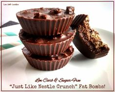 -Just Like Nestle Crunch- Fat Bombs - by Low Carb Lovelies; modification - use standard chocolate fat bomb recipe but make it sweeter than normal to counteract the salty pork rinds Low Carb Deserts, Low Carb Sweets, Low Carb Keto, Low Carb Recipes, Keto Fat, Atkins Recipes, Sweet Fat Bombs, Pork Rind Recipes, Low Carb Candy