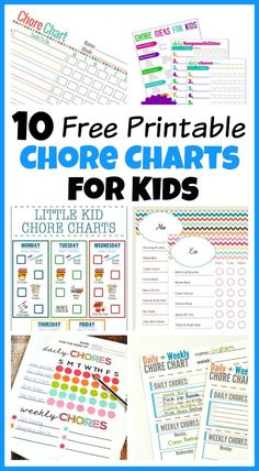 10 of the best Free Printable Chore Charts For Kids!