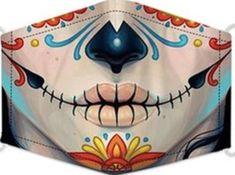 Sugar Skull Face, Sugar Skull Girl, Skull Face Mask, Easy Face Masks, Diy Face Mask, Mascaras Halloween, Girl Faces, Holiday Costumes, Halloween Face Mask