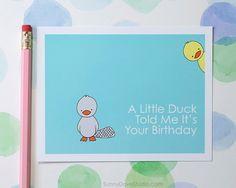 Funny Platypus + Duck Birthday Card by SunnyDoveStudio #cute #kawaii #platypus #duck #birthday #cards #greetingcards #handmade #etsy