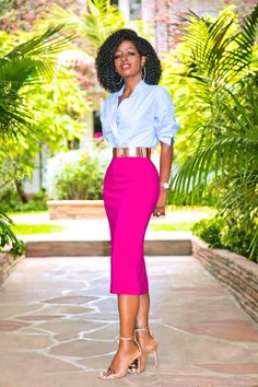 Style Pantry | Oversized Chinese Collar Button-Up + Midi Pencil Skirt