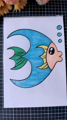 Easy Fish Drawing, Fish Drawing For Kids, Nature Drawing For Kids, Easy Scenery Drawing, Drawing Lessons For Kids, Easy Drawings For Kids, Fish Drawings, Art Drawings Sketches Simple, Drawing For Children