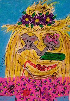 ACEO TW SEP Harvest Home Scarecrow straw mice original whimsical cartoon #Miniature   #aceo #art #eBay #scarecrow #mice