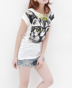T-shirt with Cat Print