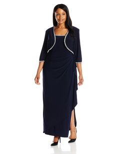 online shopping for Alex Evenings Women's Plus-Size Side Ruched Bolero Jacket With Gown from top store. See new offer for Alex Evenings Women's Plus-Size Side Ruched Bolero Jacket With Gown Plus Size Wedding Guest Dresses, Plus Size Dresses, Alex Evenings, Bolero Jacket, Gorgeous Wedding Dress, Plus Size Fashion, Cold Shoulder Dress, Gowns, Bride Dresses