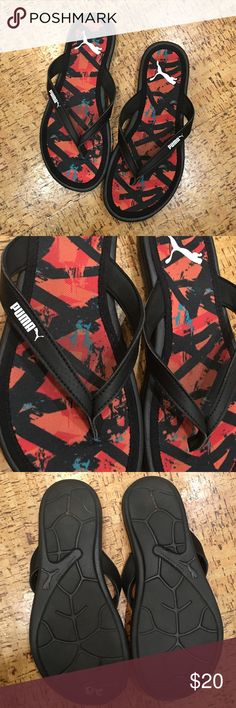 Puma multi colored flip flops NWOT size 7 Puma. Multi colored. Size 7 women's. New with tags, work only in store. Puma Shoes Sandals