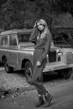 Utility jumpsuit and vintage cars in black and white