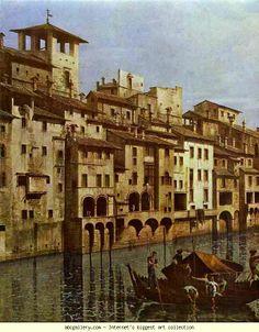 Bernardo Bellotto. 1740 Arno in Florence. Detail.   BERNARDO BELLOTTO (Bellotti) (Venezia, 30 gennaio 1721 – Varsavia, 17 ottobre 1780)   #TuscanyAgriturismoGiratola