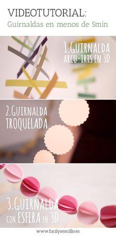 3 GUIRNALDAS DIFERENTES EN MENOS DE 5min (Videotutorial) - Fácil y Sencillo
