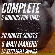 5RFT: goblet squats, man makers, KB swings