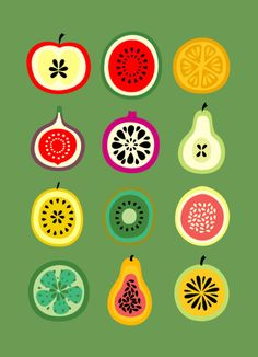 illustration style inspiration - flat shapes, food, mid-century