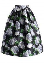 Divine Rose Pleated A-line Midi Skirt