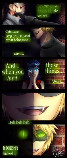 Chat the protective cat (by frazie303, Miraculous Ladybug, Chat Noir, Marinette, Marichat)