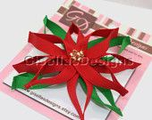 Christmas Poinsettia Ribbon sculpture bow w / glass beads / christmas hair clip