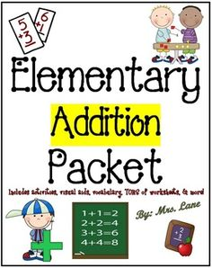 *BEST SELLER!*This packet contains TONS of fabulous items to teach addition to elementary students, from activities and games, lesson plans, to printable worksheets, handouts, and posters. These wonderful resources will improve your teaching skills by helping you understand how the topic of addition can be approached and be taught for your students' maximum absorption and retention.*Don't let the price scare you!