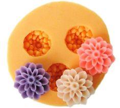 Allforhome 3er-Silikon-Form zum Backen und Basteln, Mini-Blume, für Zuckerguss- / Kuchen-Deko, Gießharz, Fondant, 1,5cm