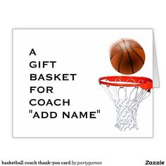 basketball coach thank-you card