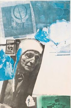 """Robert Rauschenberg (American, """"Homage to Frederick Kiesler"""", offset color lithograph, signed and dated -Much random blues. Such interesting. Collages, Collage Artists, Robert Rauschenberg, Frederick Kiesler, Contemporary Printmaking, Contemporary Paintings, James Rosenquist, Pop Art Movement, Jasper Johns"""