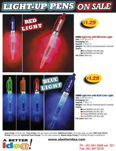 Light Up Pens on Sale. Promotional items and custom printed logo gift ideas for business promotions and giveaways at  www.abetteridea.com. Factory Direct Promotional Products, Business gifts, & custom awards!  800-520-1691.  #tradeshowgiveaways #promotionalproducts #promotionalgifts #advertising #marketing #pens
