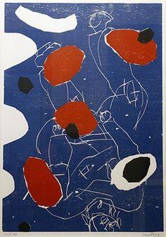Georg Baselitz, Puck, 1993, Farbiger Holzschnitt in Blau, Rot Schwarz, Zerkall Büttenpapier, Auflage 300, 100  Blau, 100 Grün, 100 Schwarz sig,104x72cm