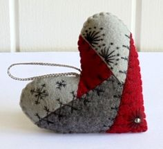 Crazy Quilt Felt Heart Ornament-Idea for next year's stitch in ornament. Maybe do a tree.