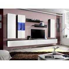 Obývacia stena s osvetlením Fly ZW - čierna / biely vysoký lesk Foyers, Floating Entertainment Center, Wooden Furniture, Tvs, Wall Mount, Locker Storage, Entertaining, Home Decor, Products